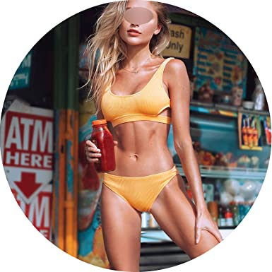 f698b37b993 can t be satisfied Yellow Feather Yarn Solid Bikini Set Plain Hollow Out  Padded Two