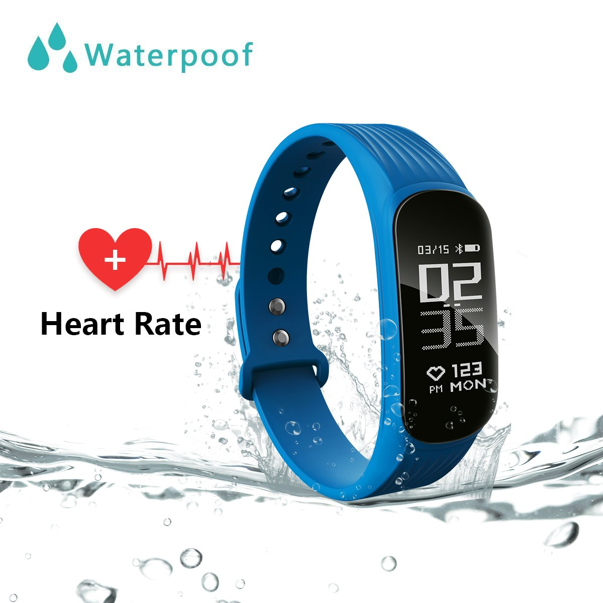 WearPai Fitness Tracker, Waterproof Sport Activity Tracker with Heart Rate Monitor Step Counter, Bluetooth Smart band with Sleep Monitor Smart Bracelet Compatible with iOS & Android for Men Women