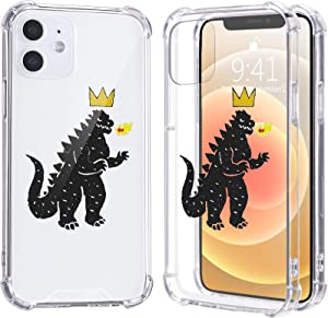LuGeKe Cool Monster Print Case for iPhone 7/8/SE 2020,Dinosaur Crown Soft TPU Flexible Full-Body Airbag Shockproof Case Cover for Boys Men,Transparent Anti-Scratch Bumper Protection Phone Case