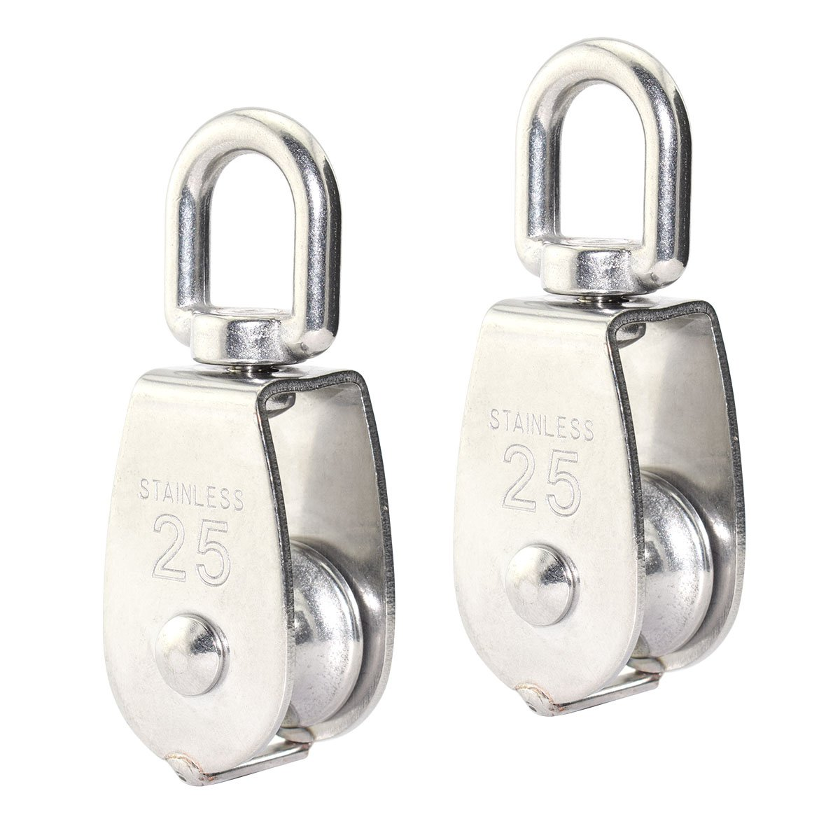 Lind Kitchen 2PCS Lifting Single Pulley Stainless Steel Heavy Duty Single Wheel Swivel Lifting Rope Pulley Block M25
