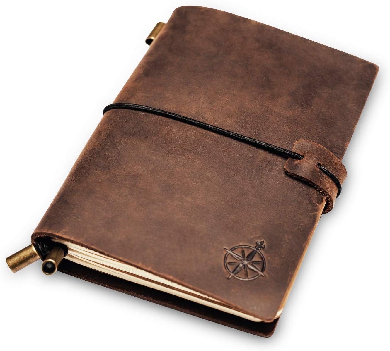 Cuaderno de Bolsillo en Cuero. Diario de Viajes Recargable, Perfecto para Escribir, Regalos, Viajeros, Profesionales, Diarios. Estilo Clásico Vintage | Travel Diary | 12.5 x 9cm