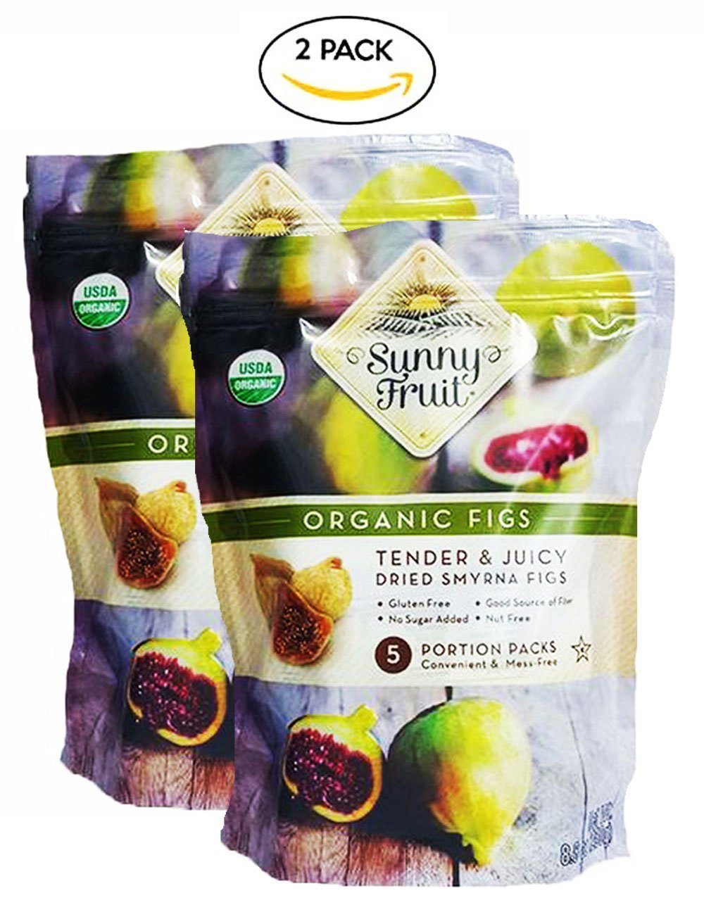 Sunny Fruit Organic Figs, Tender & Juicy Dried Smyrna Figs, 2Packs