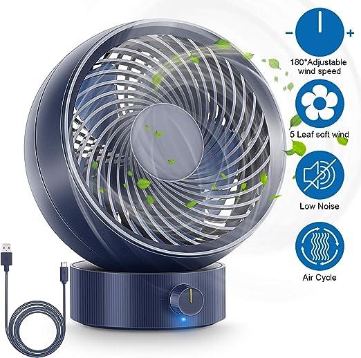 RenFox Ventilador USB, Ventilador de Mesa Mini Ventilador USB Silencioso, con Velocidad Ajustable de 180 Grados, para Coche, Oficina, Hogar, Viajes, Camping, USB ...