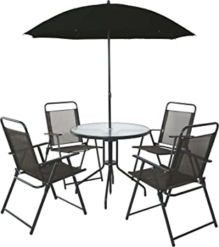 4 seater outdoor garden furniture dining set round table chairs with parasol