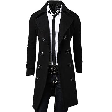 9554639bc15d3 Zeagoo Men s Trench Coat Winter Long Jacket Double Breasted Overcoat  (Medium