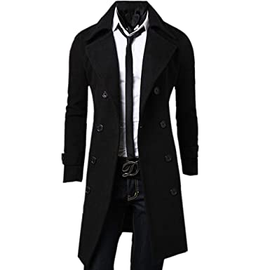 de079a2505e Zeagoo Men s Trench Coat Winter Long Jacket Double Breasted Overcoat  (Medium