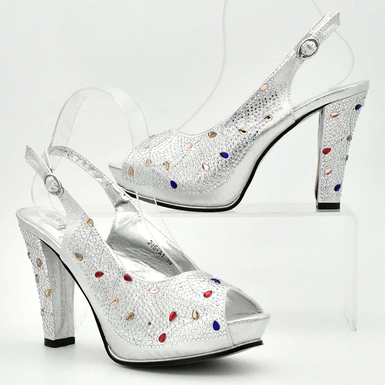 Ultima Argento Colore Italiano Scarpe e Borse da abbinare Set di scarpe nigeriane e borsa di corrispondenza africano scarpe da sposa e borsa set Argento46 MXrJME