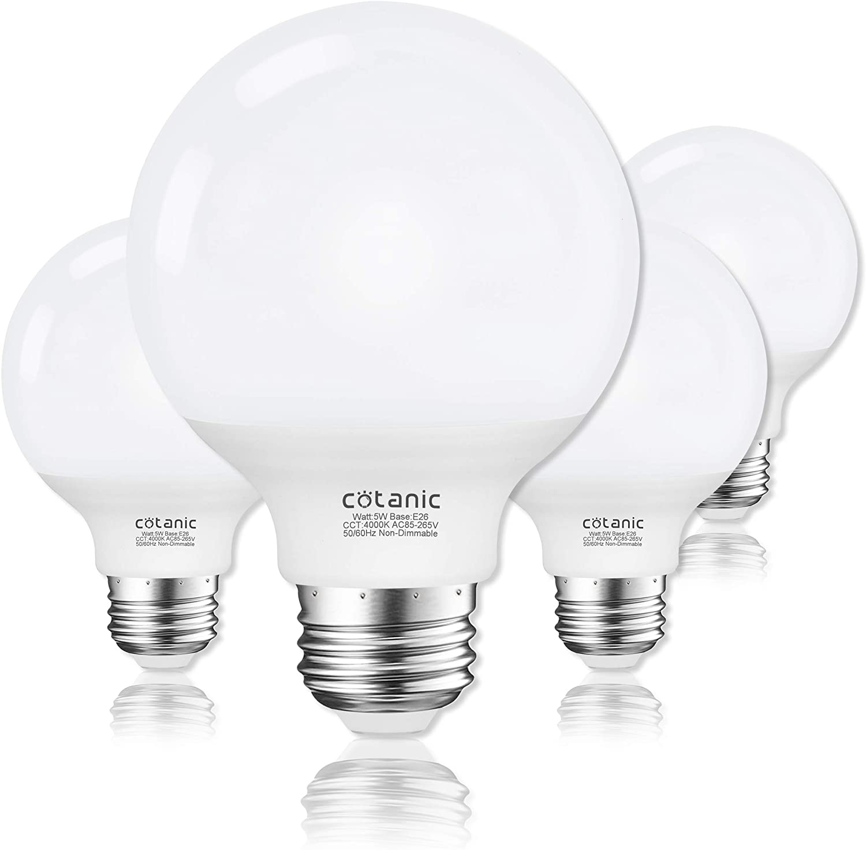 G25 Led Globe Light Bulbs Cotanic 5w Vanity Light Bulb 60w Equivalent Daylight 4000k Non Dimmable Makeup Mirror Lights For Bedroom Led Bathroom Light Bulbs E26 Medium Screw Base 500lm Pack Of 4