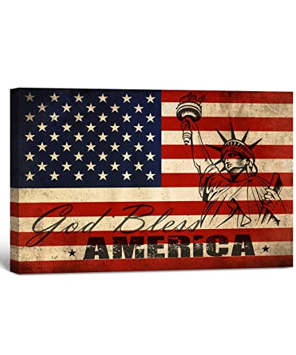 Amazoncom God Bless America American Flag Vintage Style Canvas