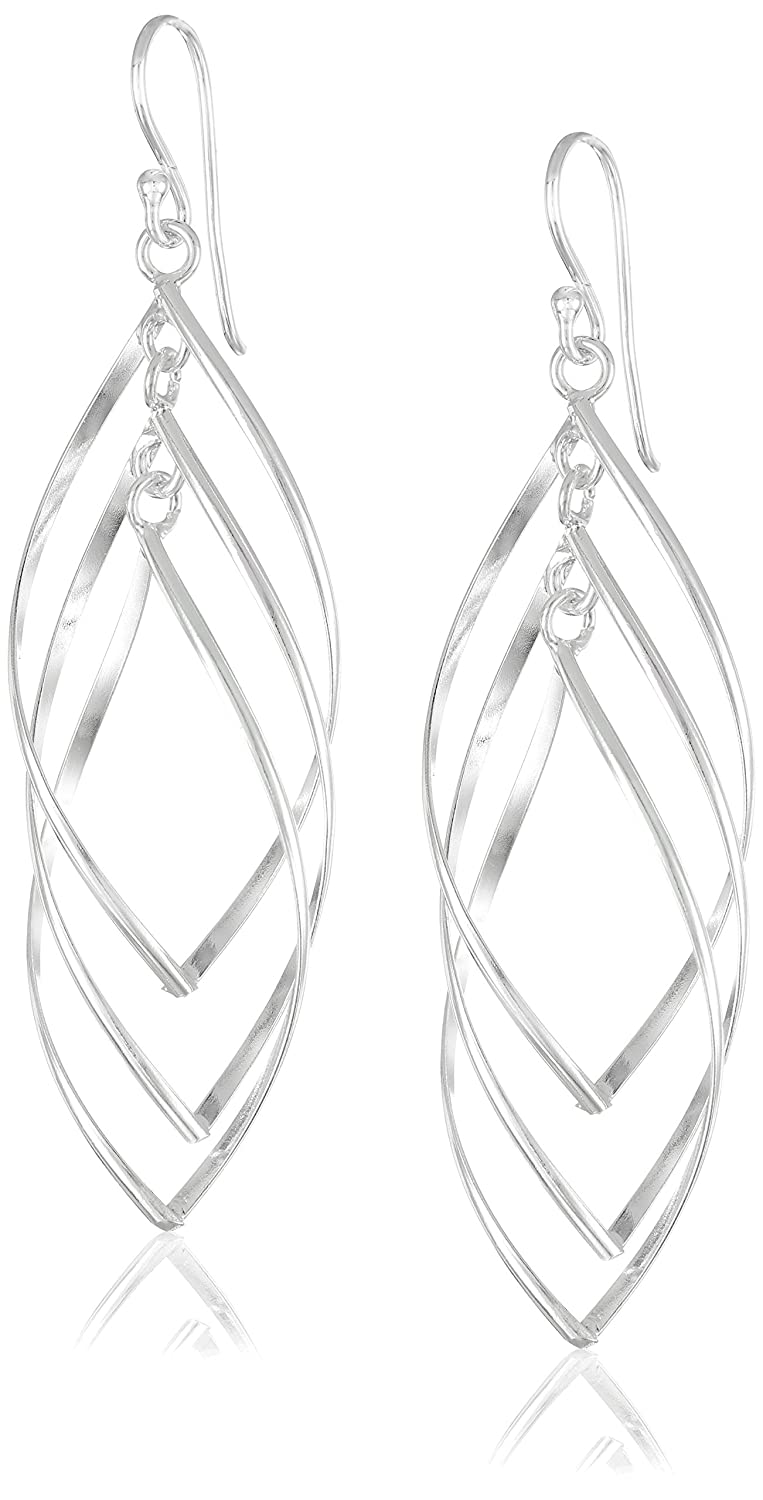 Sterling Silver Oversized Triple Twisted Drop Earrings Amazon Collection E2198A