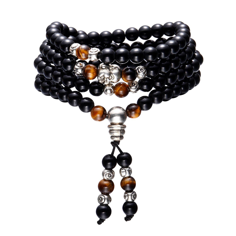 108 Beads Bracelet Lama Prayer Necklace Chain Elastic Bracelet for Men Tibetan Buddhist Link Wrist