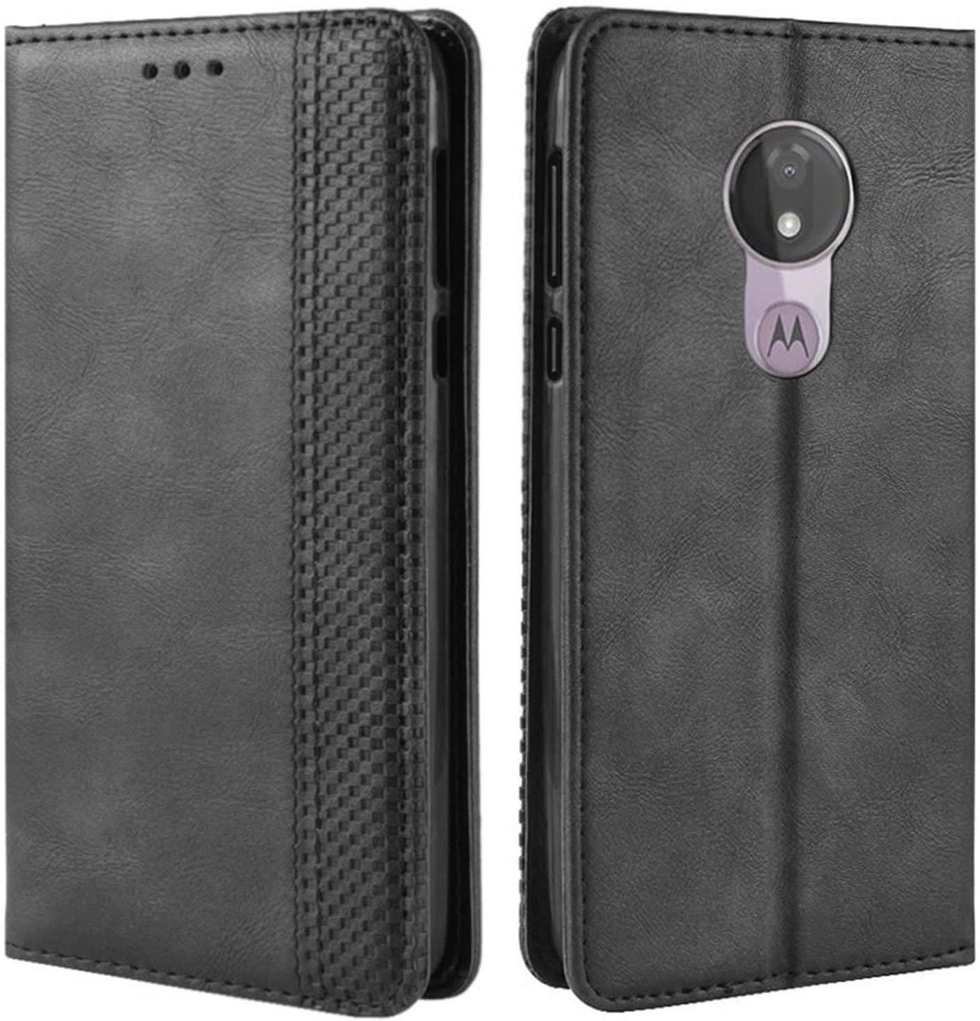 HualuBro Motorola Moto G7 Power Case, Moto G7 Supra Case, Moto G7 Optimo Maxx Case, Magnetic Full Body Shockproof Flip Leather Wallet Case Cover with Card Holder for Moto G7 Power Phone Case (Black)