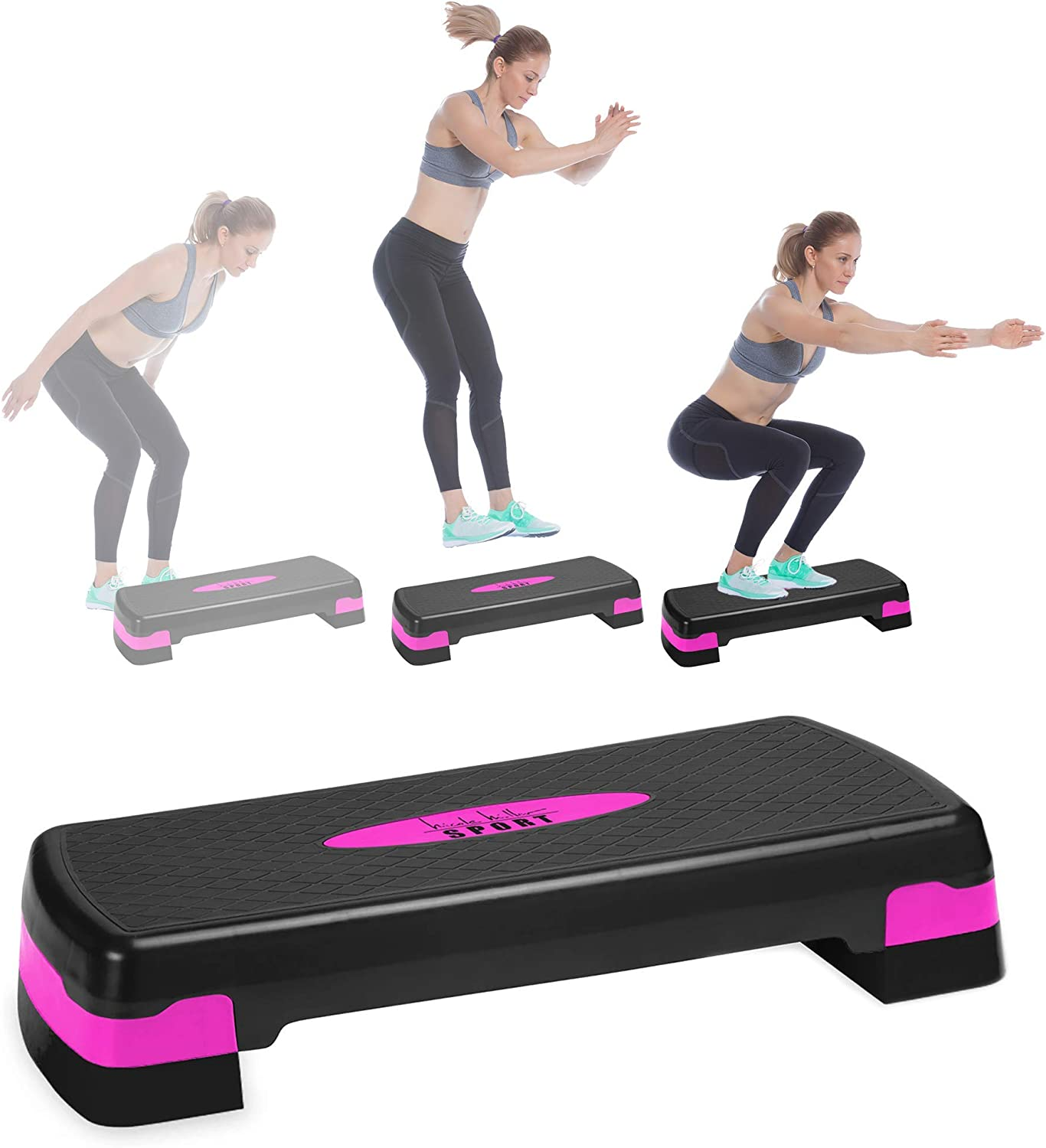 Nicole Miller Aerobic Exercise Step Deck, Adjustable Workout Fitness Stepper Exercise Platform with Risers