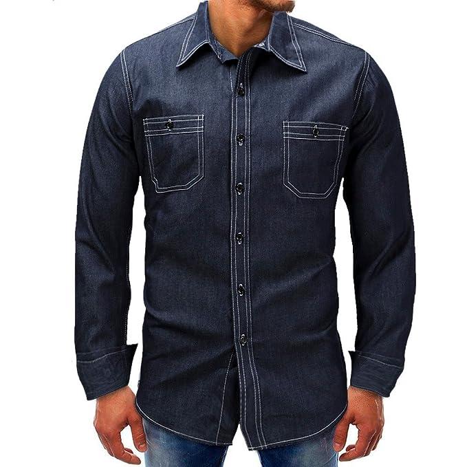 Camiseta Denim de Mangas largas con botón de Manga Larga, Blusa sólida básica, Camiseta