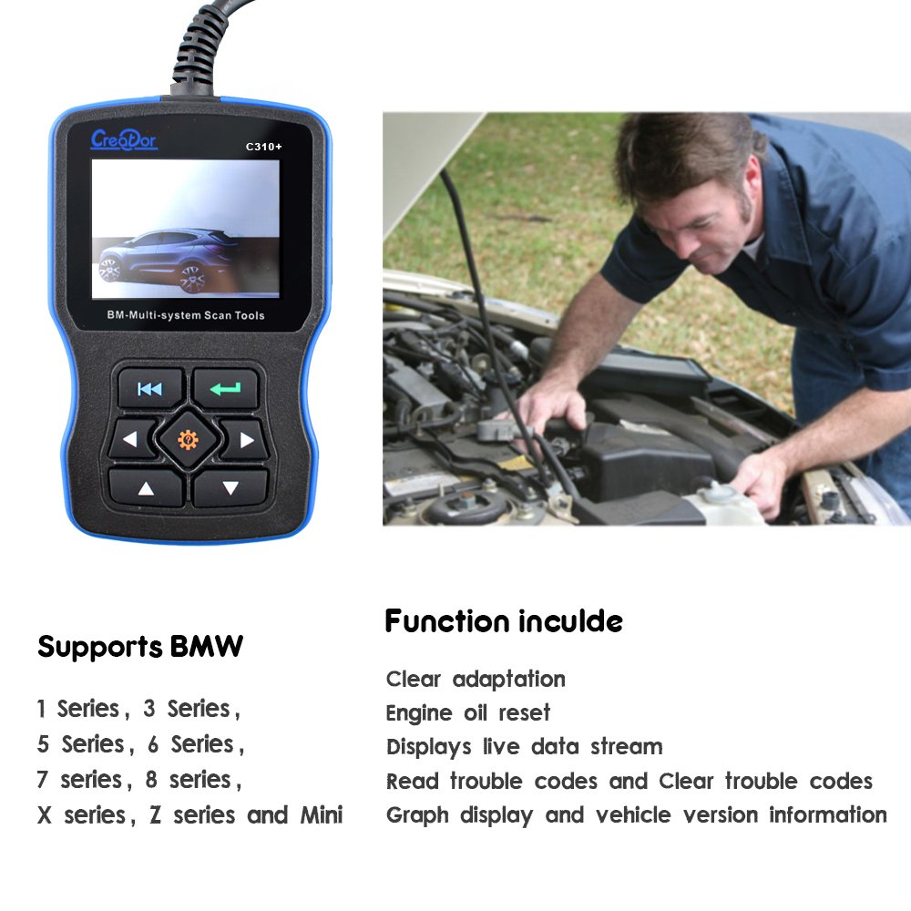 MAOZUA Latest V7 7 Creator C310+ Airbag/ABS/SRS Diagnostic Scan Tool For  BMW Code Reader with Clear Adaptation and Engine Oil Reset Function Only  for