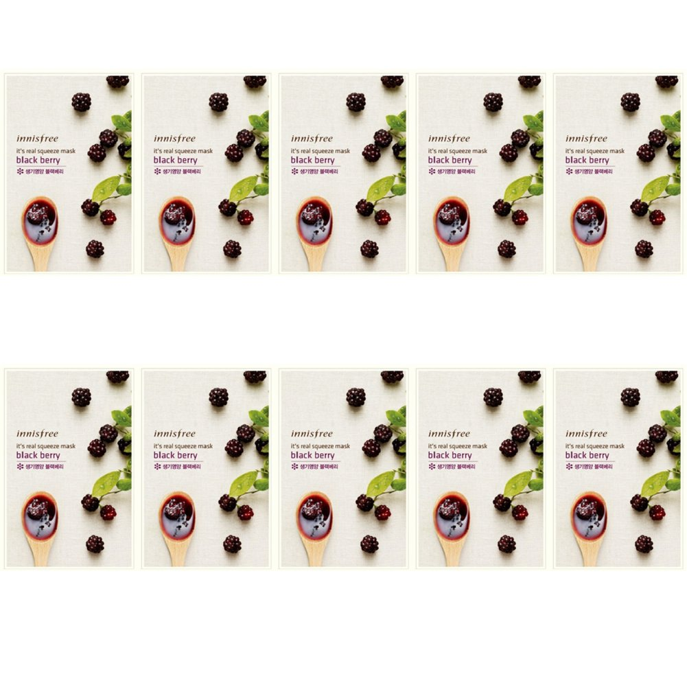 Innisfree Its Real Squeeze Mask 10 Pack Blackberry Black Berry Beauty