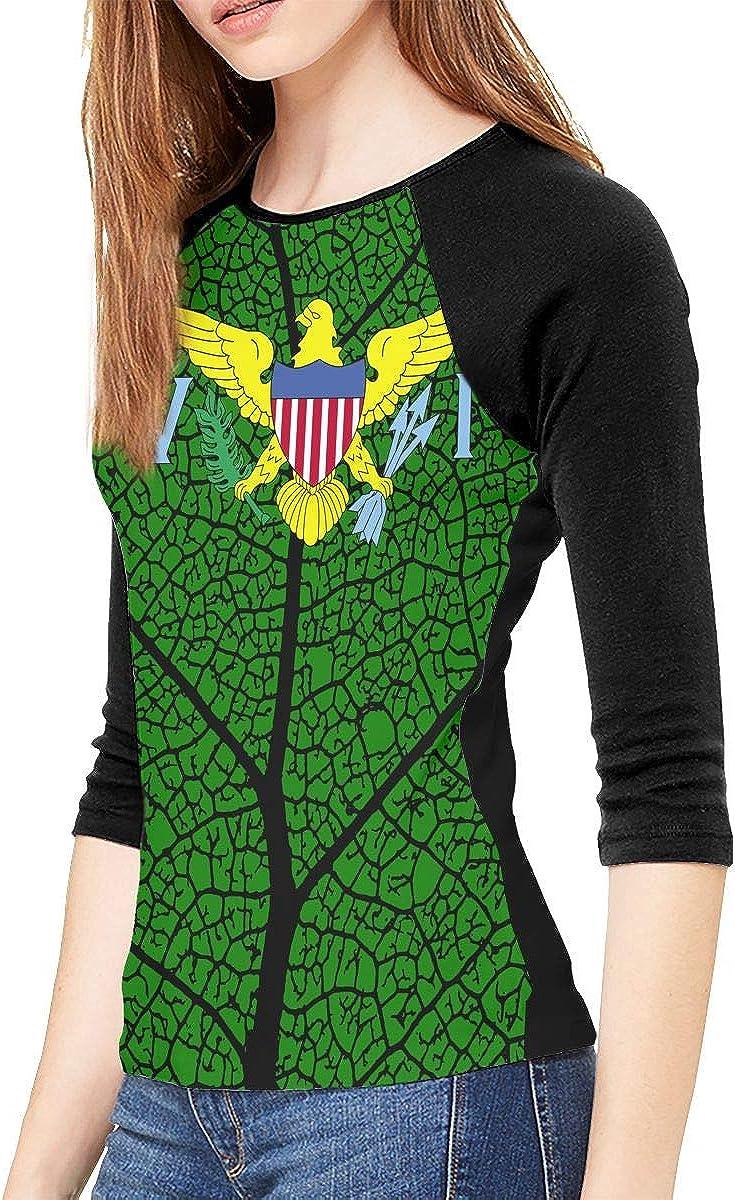XYMYFC-E Flag of US Virgin Islands Adult Womens Long-Sleeved T Shirt