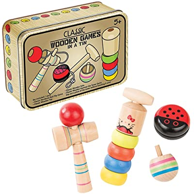 Loftus SW-0249 4 Pc Classic Wooden Games in A Tin Set, 6 inches Long, Brown: Toys & Games