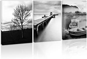 Black and White Tree Landscepe Wall Art Decor Lake Boats Pier Cabin Mountain Sky Nature Canvas Painting Kitchen Forest Prints Pictures for Home Living Dining Room
