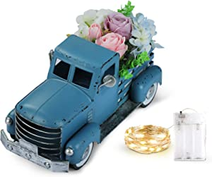 Giftchy Vintage Blue Truck Spring Decorations, Farmhouse Pick-up Metal Truck with Flowers & Fairy Lights Decorations & Decorative Dining Table Centerpiece
