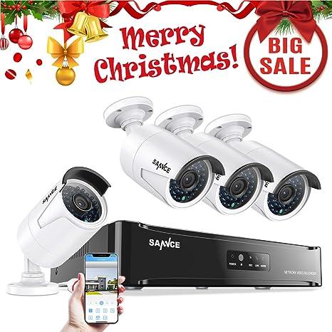 SANNCE Kit de 4 Cámaras de Vigilancia Seguridad 1920 x 1080P CCTV NVR P2P 4CH 1080P