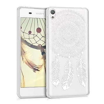 kwmobile Funda para Sony Xperia E5 - Carcasa Protectora de [TPU] con diseño de Cazador de sueños en [Blanco/Transparente]