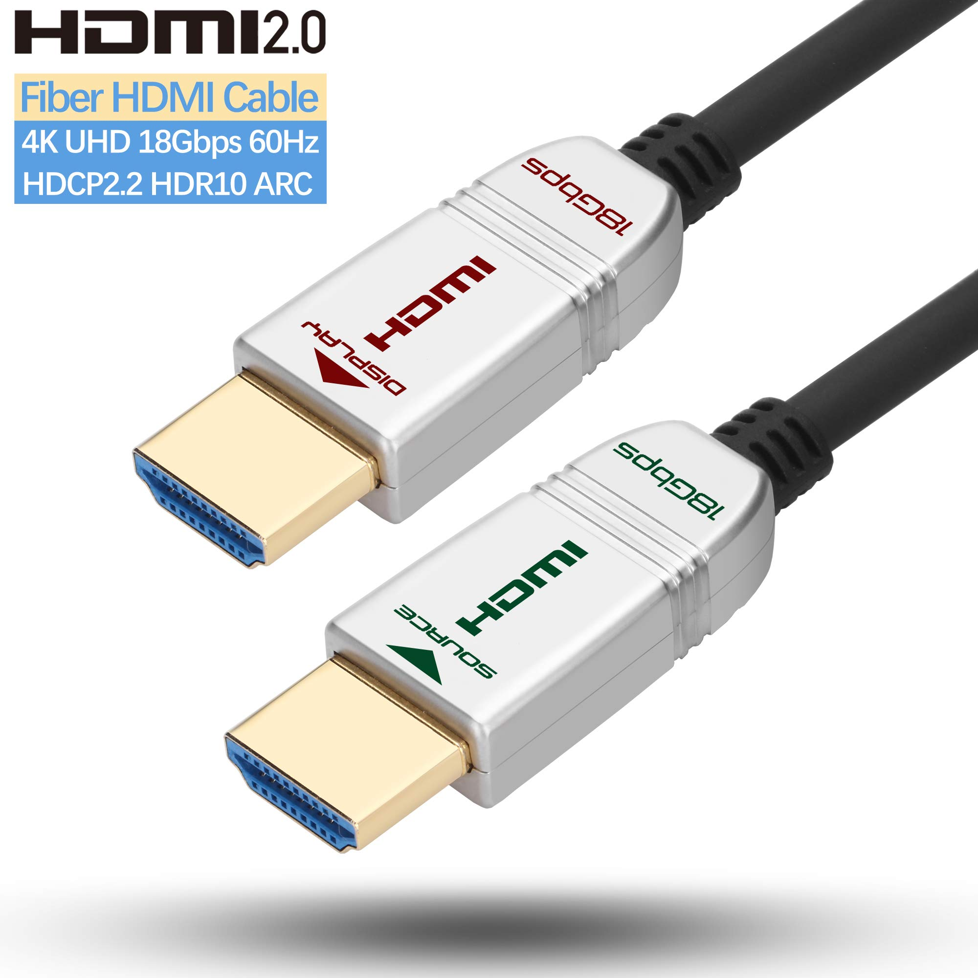 HDMI Fiber Cable 35ft 4K 60Hz, FeizLink HDMI Cable Fiber Optic High Speed 18Gbps UHD HDR ARC HDCP2.2 3D Dolby Vision Slim Flexible HDMI Optical Cable for HDTV/TVbox/Gaming Box/Projector by FeizLink