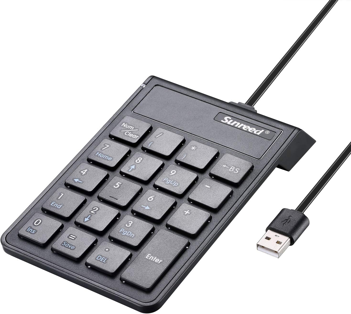 PROODI Number Pad, Ultra-Thin Portable USB Numeric Keypad Keyboard for Laptop Computer and Microsoft Surface, Windows OS, Mac OS, Chrome OS, iOS, Android OS, with = Key