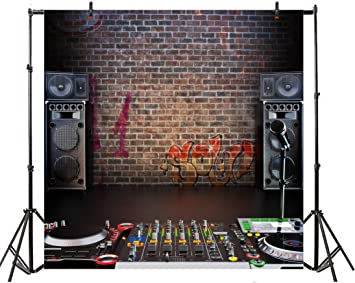 AOFOTO 6x6ft Vinyl Photography Backdrop Singing Hall Club Brick Wall Sound Microphone DJ Mixer Background Singer Portraits Shotting Video Displays TV Film Production Photo Studio Prop