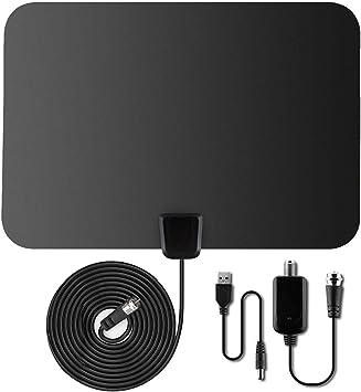 La antena de televisión XinXu 80Km digital TV antena desmontable con amplificador amplificador de señal para uhf vhf powersupply - 16.5ft cable ...