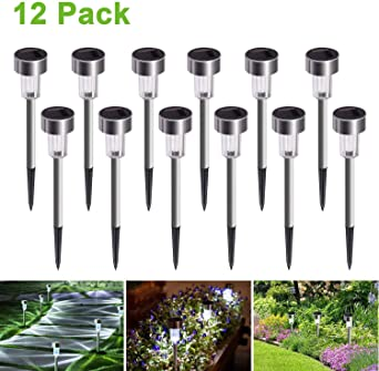 Luces Solares Jardín LED,JuguHoovi Luz Solar de Césped, Impermeable Paisaje/Pathway Lámpara de Acero Inoxidable LED Luces Solares de Exterior Para Patio, Césped, Patio, Pasillo,12pcs: Amazon.es: Iluminación