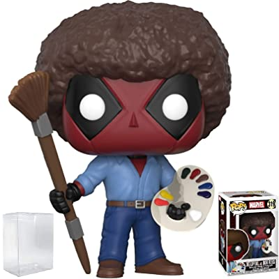 Funko Pop! Marvel X-Men: Deadpool Playtime - Bob Ross Deadpool Vinyl Figure (Bundled with Pop Box Protector Case): Toys & Games