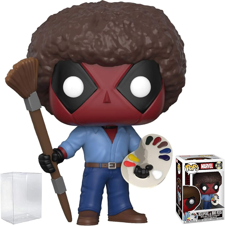 Funko Pop! Marvel X-Men: Deadpool Playtime - Bob Ross Deadpool Vinyl Figure (Bundled with Pop Box Protector Case)