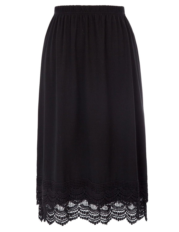 GRACE KARIN Knee Length Underskirt Cotton Lace Trimmed Skirt Half Slip Anti Static