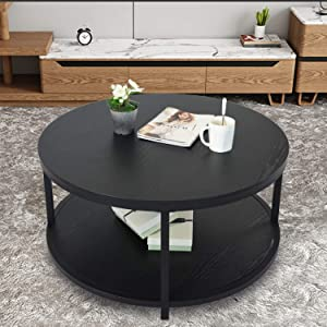 """NSdirect 36"""" Round Coffee Table, Rustic Wooden Surface Top & Sturdy Metal Legs Industrial Sofa Table for Living Room Modern Design Home Furniture with Storage Open Shelf (Black)"""