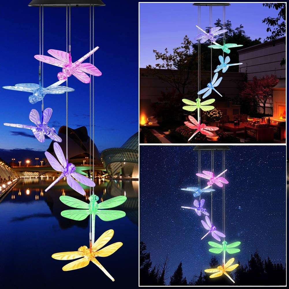 Yooda Solar Wind Chime Color Changing Dragonfly Wind Chime Solar Powered Wind Mobile Waterproof Outdoor Decorative Wind Bell Light for Patio Yard Garden Home