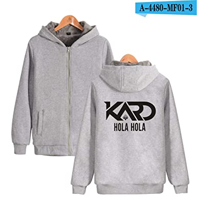 Korean K A R D Logo Hoodies With Zipper Hat Print Somin