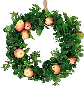 uHousDeco Fall Wreath, Autumn Green Eucalyptus Leaf Wreath, Harvest Thanksgiving Garland Silk Flower Wreath with Apple, 16 Inch