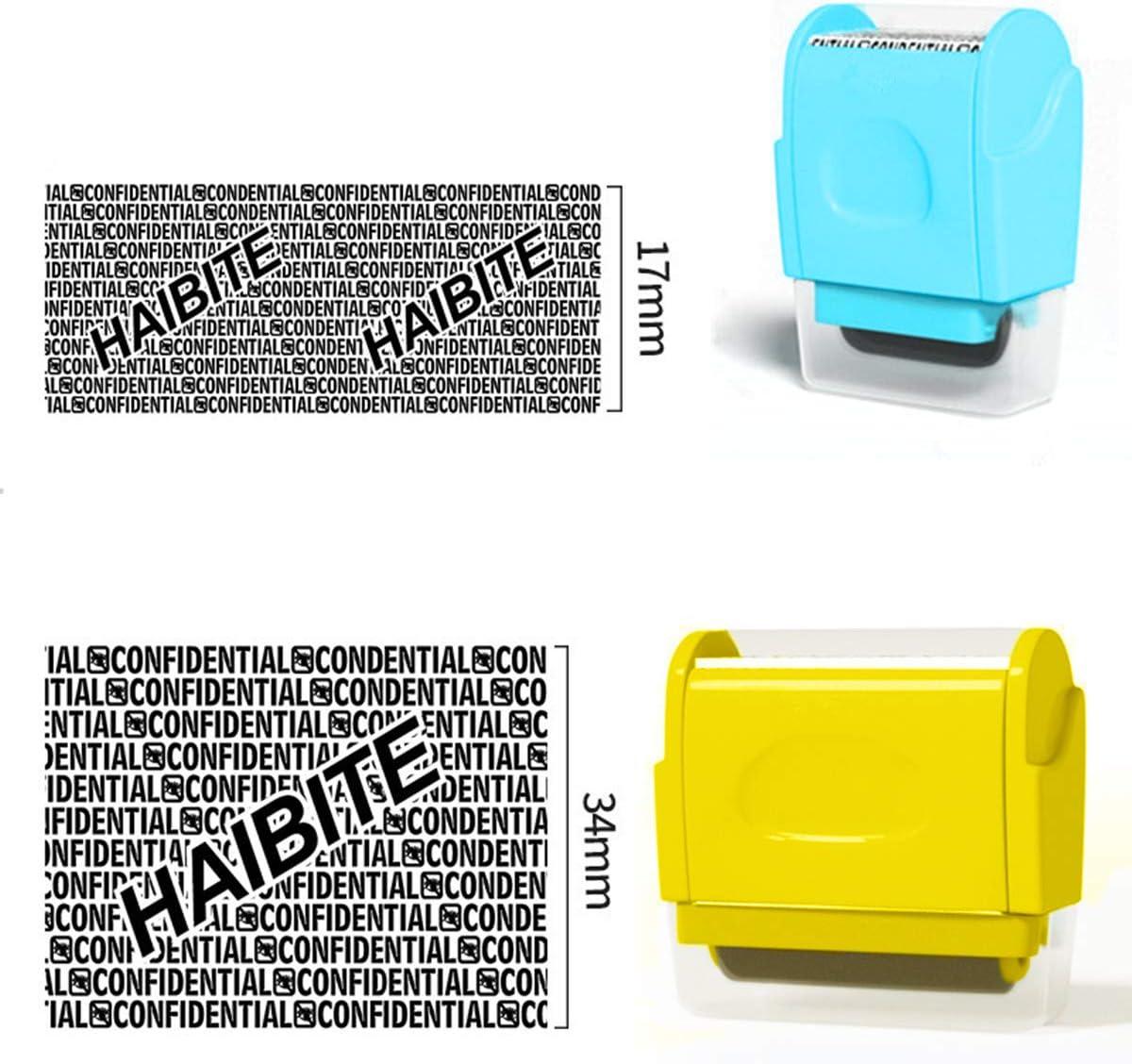 2 x breite Rollenstempel hellblau + gelb unbegrenzte Wiederf/ärbung von Identit/ätsdiebstahl Pr/ävention Stempel Rollsicherheitsstempel Sichtschutz Schutz Ihrer Identit/ät vertrauliche Daten