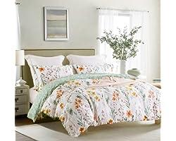 SLEEPBELLA Queen Size Comforter Set Yellow Flowers & Green Botanical Pattern Printed on White 100% Cotton Fabric, Ultra Soft
