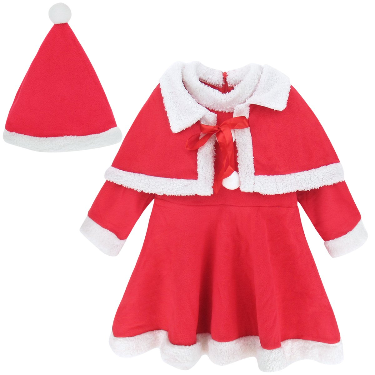 A&J Design Baby Girls' Toddler Christmas Outfit Dress with Shawl and Hat (12-18 Months, Red)
