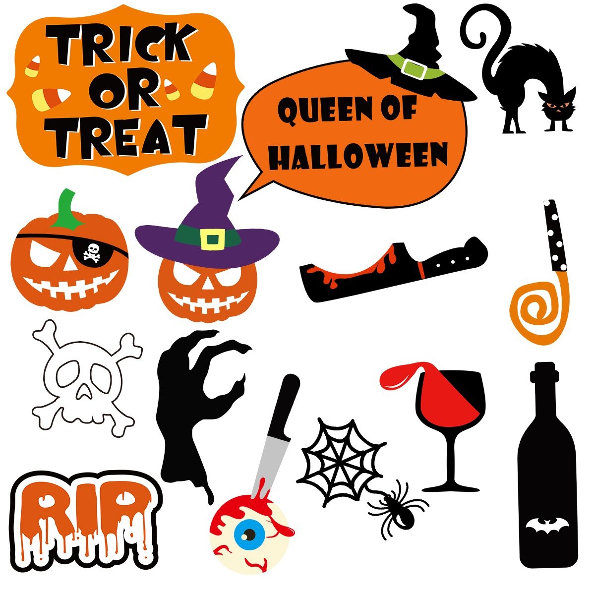 PRETYZOOM 47 Pieces Halloween Party Photo Booth Props Kit Fancy Party Decor Halloween SupplyPose Sign Kit for Party Decoration by PRETYZOOM (Image #2)