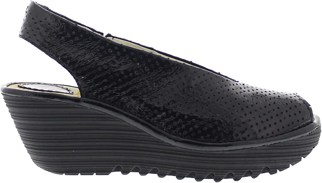 8b7a10e10c3eb Amazon.com | FLY London Womens Yazu 736 Black Leather Sandals 38 EU ...