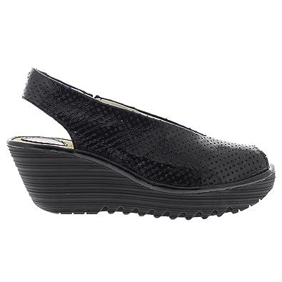 9adc47f68d57 Fly London Womens Yazu 736 Black Leather Sandals 37 EU