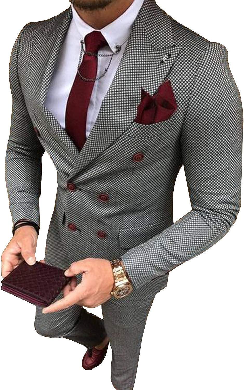 YZHEN Hombre Traje de Chaqueta a Cuadros Doble y Pantalones