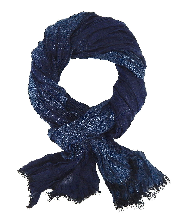 Ella Jonte Schal Herrenschal blau gestreift Viskose P3020