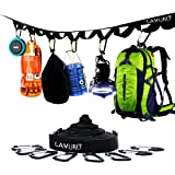 LAMURO Campsite or Garden Supplies Storage Strap with 8 Hooks | Hanging Your Camping Gear from a Tree | Vertical or…