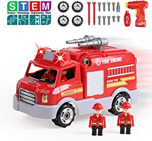 REMOKING STEM Learning Take Apart Toy for Boys & Girls, Build Your Own Car Toy Fire Truck Educational Playset with Tools and Power Drill, DIY Assembly Car with Realistic Sounds & Lights (3+ Ages)