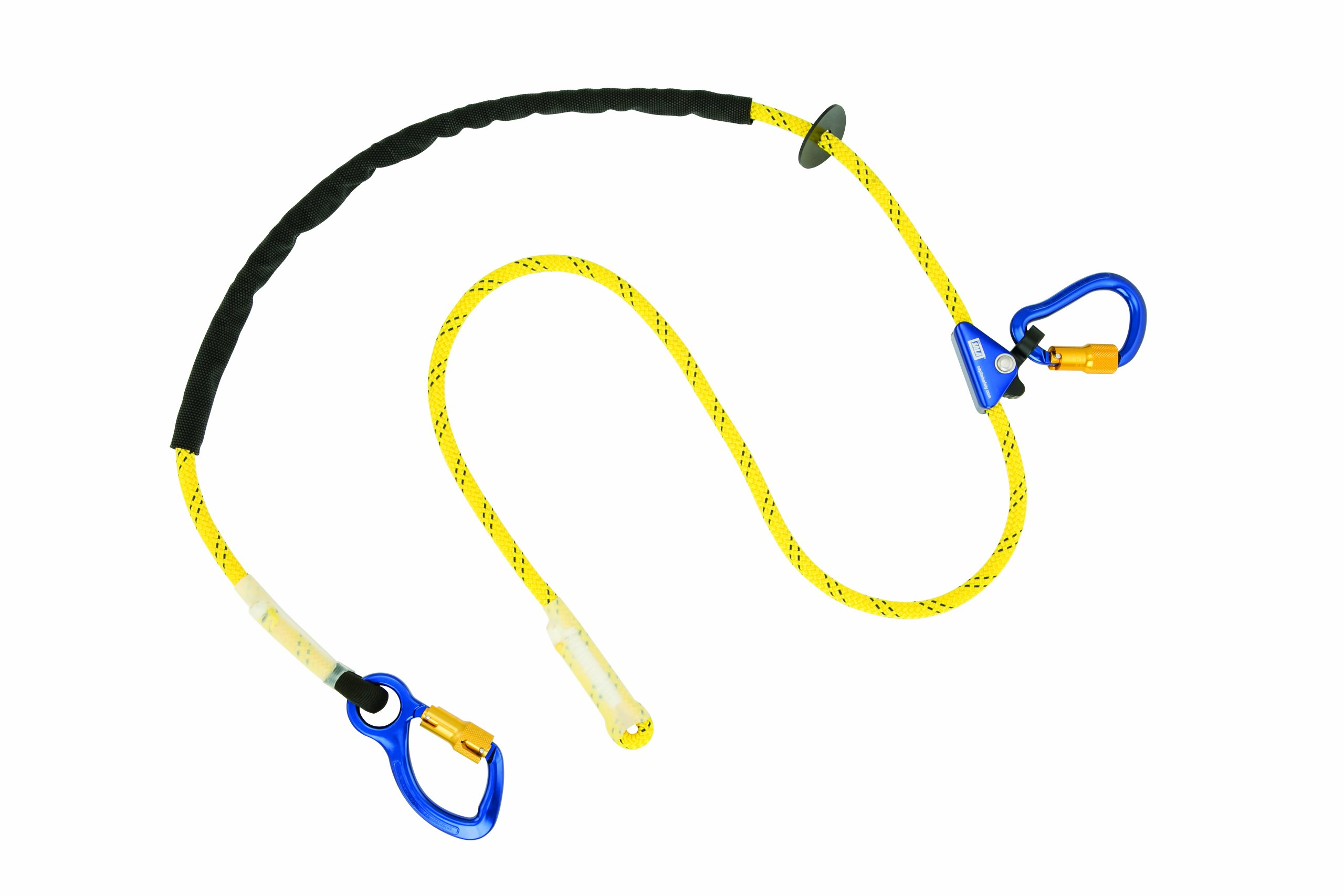 3M DBI-SALA 1234080 Adjustable Rope Positioning Strap, 8' with Aluminum Carabiner At One End, Rope Adjuster, Aluminum Carabiner At Other End, Yellow/Black/Blue