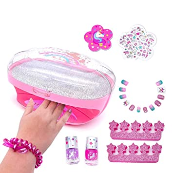 Kids Nail Polish Set for Girls with Dryer - Unicorn Manicure Kit with Scented Press-On Nails Stickers Art Non-Toxic Safe Glitter Peel off Nail Polishes File for Little Girls Tweens